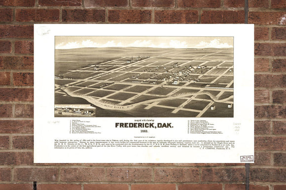 Vintage Frederick Print, Aerial Frederick Photo, Vintage Frederick SD Pic, Old Frederick Photo, Frederick South Dakota Poster, 1883
