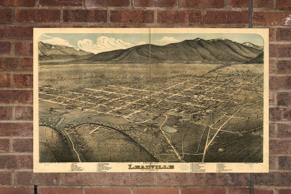 Vintage Leadville Print, Aerial Leadville Photo, Vintage Leadville CO Pic, Old Leadville Photo, Leadville Colorado Poster, 1879