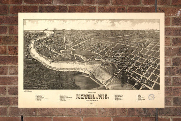 Vintage Merrill Print, Aerial Merrill Photo, Vintage Merrill WI Pic, Old Merrill Photo, Merrill Wisconsin Poster, 1883