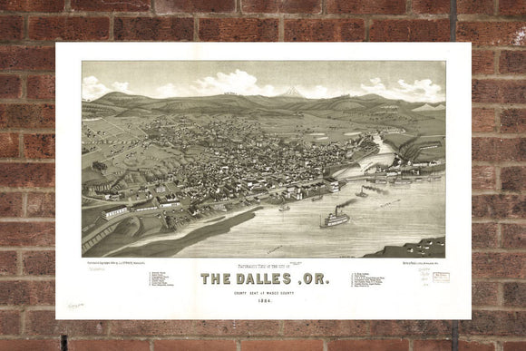 Vintage The Dalles Print, Aerial The Dalles Photo, Vintage The Dalles OR Pic, Old The Dalles Photo, The Dalles Oregon Poster, 1884