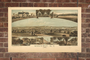 Vintage Waverly Print, Aerial Waverly Photo, Vintage Waverly NY Pic, Old Waverly Photo, Waverly New York Poster, 1881