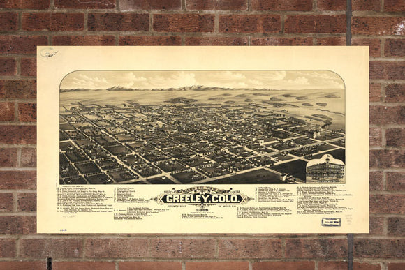 Vintage Greeley Print, Aerial Greeley Photo, Vintage Greeley CO Pic, Old Greeley Photo, Greeley Colorado Poster, 1882