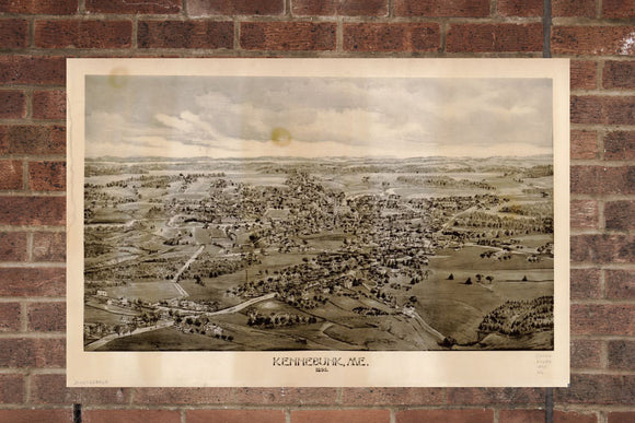 Vintage Kennebunk Print, Aerial Kennebunk Photo, Vintage Kennebunk ME Pic, Old Kennebunk Photo, Kennebunk Maine Poster, 1895