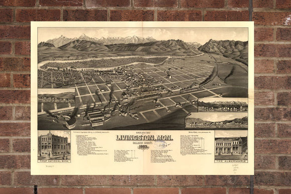 Vintage Livingston Print, Aerial Livingston Photo, Vintage Livingston MT Pic, Old Livingston Photo, Livingston Montana Poster, 1883