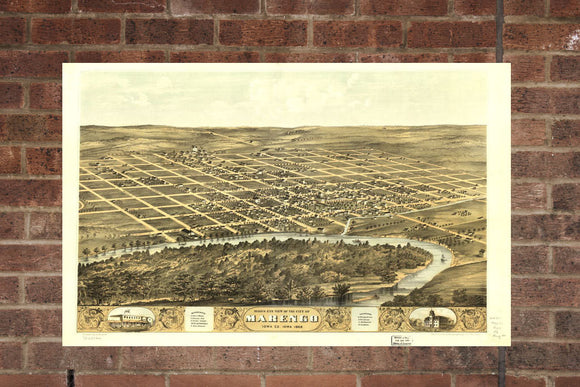 Vintage Marengo Print, Aerial Marengo Photo, Vintage Marengo IA Pic, Old Marengo Photo, Marengo Iowa Poster, 1868