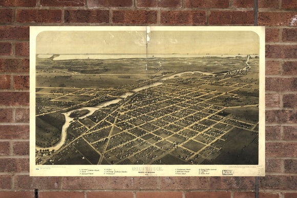 Vintage Monroe Print, Aerial Monroe Photo, Vintage Monroe MI Pic, Old Monroe Photo, Monroe Michigan Poster, 1866