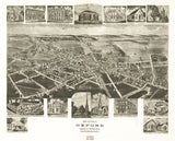 Vintage Oxford Print, Aerial Oxford Photo, Vintage Oxford PA Pic, Old Oxford Photo, Oxford Pennsylvania Poster, 1907