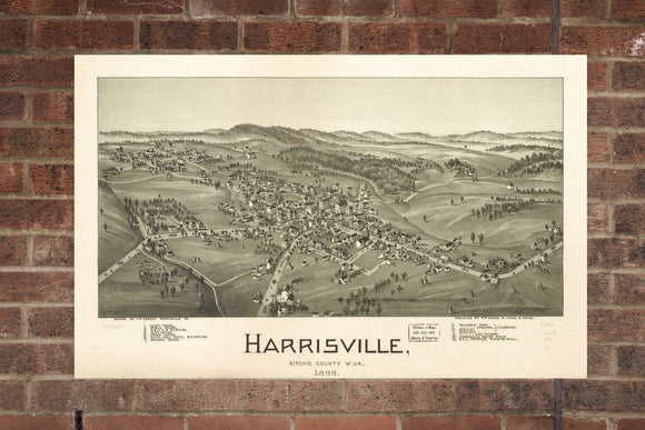 Vintage Harrisville Print, Aerial Harrisville Photo, Vintage Harrisville WV Pic, Old Harrisville Photo, Harrisville West Virginia Poster