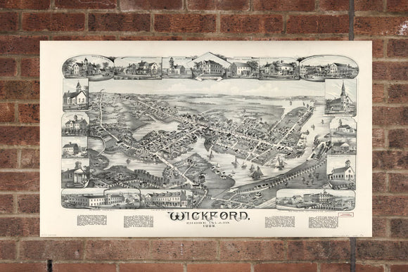 Vintage Wickford Print, Aerial Wickford Photo, Vintage Wickford RI Pic, Old Wickford Photo, Wickford Rhode Island Poster, 1888