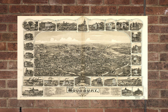 Vintage Woodbury Print, Aerial Woodbury Photo, Vintage Woodbury NJ Pic, Old Woodbury Photo, Woodbury New Jersey Poster, 1886