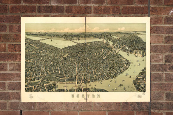 Vintage Boston Print, Aerial Boston Photo, Vintage Boston MA Pic, Old Boston Photo, Boston Massachusetts Poster, 1899