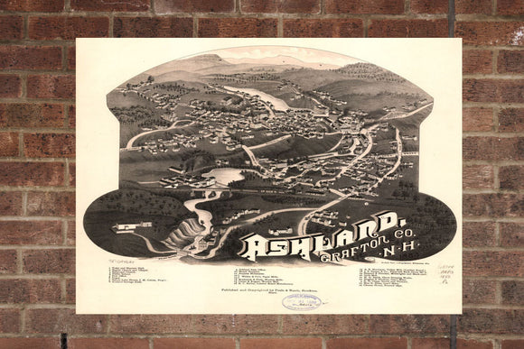 Vintage Ashland Print, Aerial Ashland Photo, Vintage Ashland NH Pic, Old Ashland Photo, Ashland New Hampshire Poster, 1883