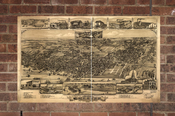 Vintage Chester Print, Aerial Chester Photo, Vintage Chester PA Pic, Old Chester Photo, Chester Pennsylvania Poster, 1885