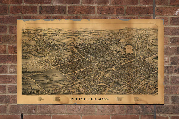 Vintage Pittsfield Print, Aerial Pittsfield Photo, Vintage Pittsfield MA Pic, Old Pittsfield Photo, Pittsfield Massachusetts Poster, 1899