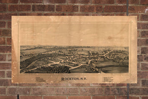 Vintage Rockton Print, Aerial Rockton Photo, Vintage Rockton NY Pic, Old Rockton Photo, Rockton New York Poster, 1890