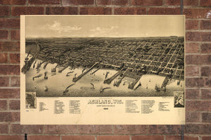Vintage Ashland Print, Aerial Ashland Photo, Vintage Ashland WI Pic, Old Ashland Photo, Ashland Wisconsin Poster, 1886