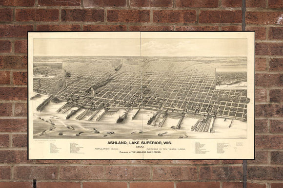 Vintage Ashland Print, Aerial Ashland Photo, Vintage Ashland WI Pic, Old Ashland Photo, Ashland Wisconsin Poster, 1890