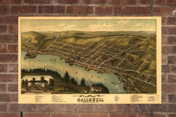 Vintage Hallowell Print, Aerial Hallowell Photo, Vintage Hallowell ME Pic, Old Hallowell Photo, Hallowell Maine Poster, 1878