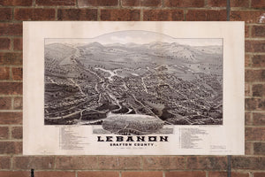 Vintage Lebanon Print, Aerial Lebanon Photo, Vintage Lebanon NH Pic, Old Lebanon Photo, Lebanon New Hampshire Poster, 1884
