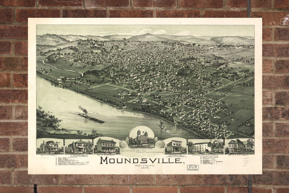 Vintage Moundsville Print, Aerial Moundsville Photo, Vintage Moundsville WV Pic, Old Moundsville Photo, Moundsville West Virginia Poster