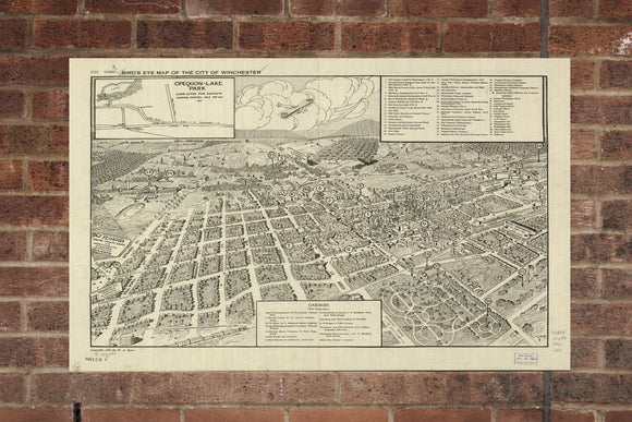 Vintage Winchester Print, Aerial Winchester Photo, Vintage Winchester VA Pic, Old Winchester Photo, Winchester Virginia Poster, 1926