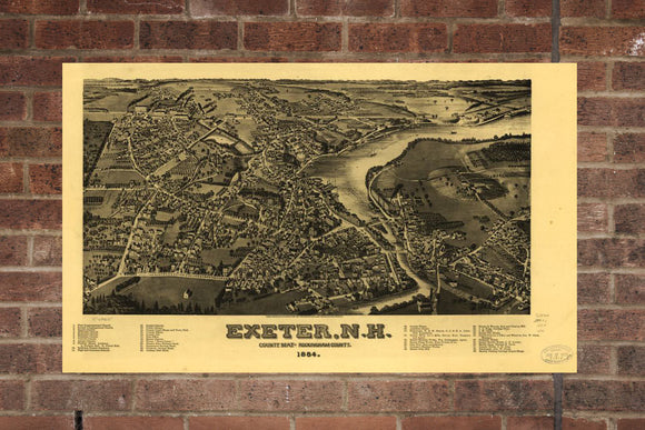 Vintage Exeter Print, Aerial Exeter Photo, Vintage Exeter NH Pic, Old Exeter Photo, Exeter New Hampshire Poster, 1884