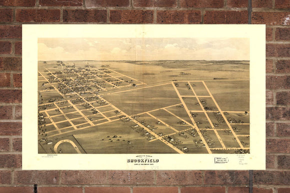 Vintage Brookfield Print, Aerial Brookfield Photo, Vintage Brookfield MO Pic, Old Brookfield Photo, Brookfield Missouri Poster, 1869