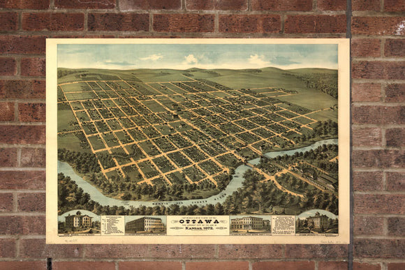 Vintage Ottawa Print, Aerial Ottawa Photo, Vintage Ottawa KS Pic, Old Ottawa Photo, Ottawa Kansas Poster, 1872