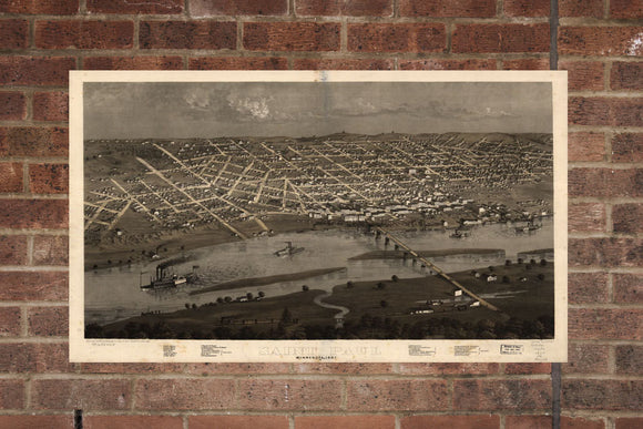 Vintage Saint Paul Print, Aerial Saint Paul Photo, Vintage Saint Paul MN Pic, Old Saint Paul Photo, Saint Paul Minnesota Poster, 1867