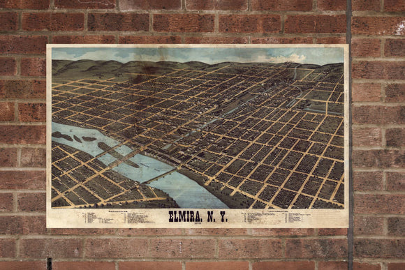 Vintage Elmira Print, Aerial Elmira Photo, Vintage Elmira NY Pic, Old Elmira Photo, Elmira New York Poster, 1873