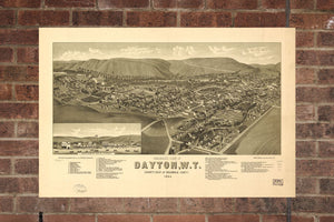 Vintage Dayton Print, Aerial Dayton Photo, Vintage Dayton WA Pic, Old Dayton Photo, Dayton Washington Poster, 1884