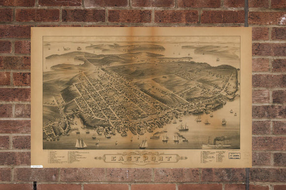 Vintage Eastport Print, Aerial Eastport Photo, Vintage Eastport ME Pic, Old Eastport Photo, Eastport Maine Poster, 1879