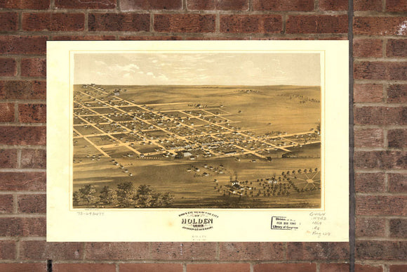 Vintage Holden Print, Aerial Holden Photo, Vintage Holden MO Pic, Old Holden Photo, Holden Missouri Poster, 1869