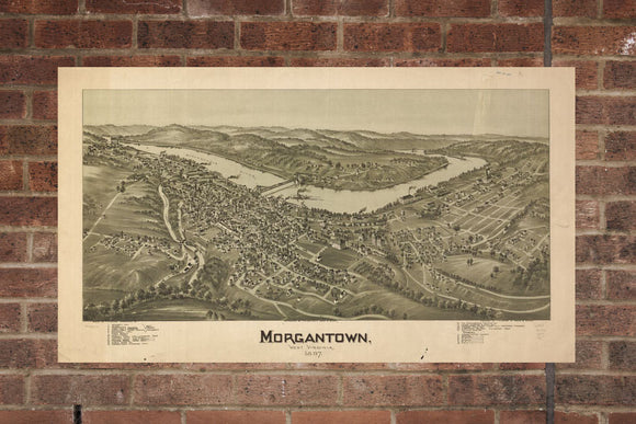 Vintage Morgantown Print, Aerial Morgantown Photo, Vintage Morgantown WV Pic, Old Morgantown Photo, Morgantown West Virginia Poster, 1897