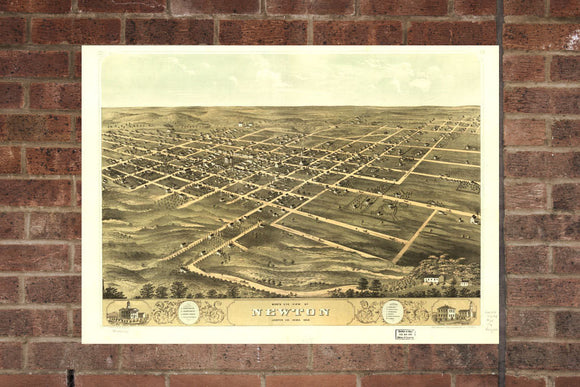 Vintage Newton Print, Aerial Newton Photo, Vintage Newton IA Pic, Old Newton Photo, Newton Iowa Poster, 1868