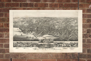 Vintage Plymouth Print, Aerial Plymouth Photo, Vintage Plymouth MA Pic, Old Plymouth Photo, Plymouth Massachusetts Poster, 1882