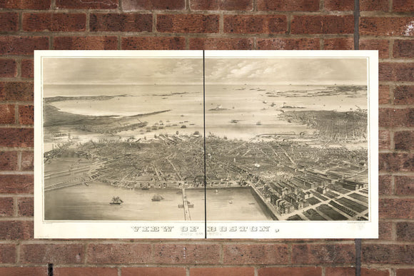 Vintage Boston Print, Aerial Boston Photo, Vintage Boston MA Pic, Old Boston Photo, Boston Massachusetts Poster, 1870