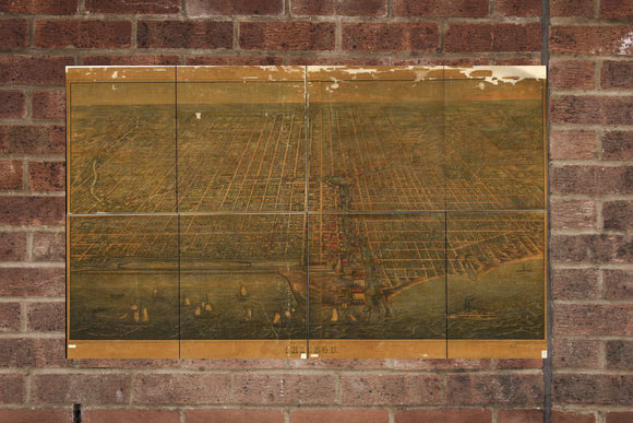Vintage Chicago Print, Aerial Chicago Photo, Vintage Chicago IL Pic, Old Chicago Photo, Chicago Illinois Poster, 1857
