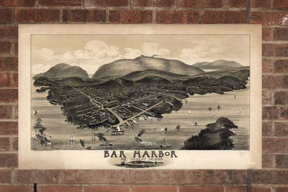 Vintage Bar Harbor Print, Aerial Bar Harbor Photo, Vintage Bar Harbor ME Pic, Old Bar Harbor Photo, Bar Harbor Maine Poster, 1886