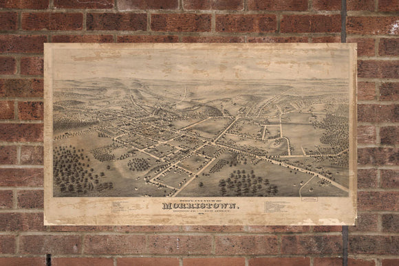 Vintage Morristown Print, Aerial Morristown Photo, Vintage Morristown NJ Pic, Old Morristown Photo, Morristown New Jersey Poster, 1876