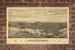 Vintage Seattle Print, Aerial Seattle Photo, Vintage Seattle WA Pic, Old Seattle Photo, Seattle Washington Poster, 1878
