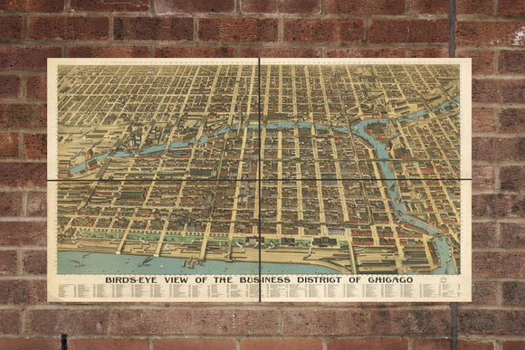 Vintage Chicago Print, Aerial Chicago Photo, Vintage Chicago IL Pic, Old Chicago Photo, Chicago Illinois Poster, 1898