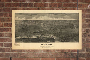 Vintage Saint Paul Print, Aerial Saint Paul Photo, Vintage Saint Paul MN Pic, Old Saint Paul Photo, Saint Paul Minnesota Poster, 1888