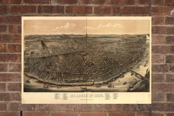 Vintage Saint Louis Print, Aerial Saint Louis Photo, Vintage Saint Louis MO Pic, Old Saint Louis Photo, Saint Louis Minnesota Poster, 1896