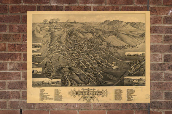 Vintage Butte-City Print, Aerial Butte-City Photo, Vintage Butte-City MT Pic, Old Butte-City Photo, Butte-City Montana Poster, 1884