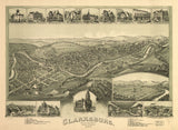Vintage Clarksburg Print, Aerial Clarksburg Photo, Vintage Clarksburg WV Pic, Old Clarksburg Photo, Clarksburg West Virginia Poster, 1898