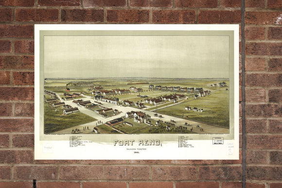 Vintage Fort Reno Print, Aerial Fort Reno Photo, Vintage Fort Reno OK Pic, Old Fort Reno Photo, Fort Reno Oklahoma Poster, 1891