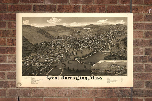 Vintage Great Barrington, Aerial Great Barrington, Vintage Great Barrington MA, Old Great Barrington, Great Barrington Massachusetts Poster