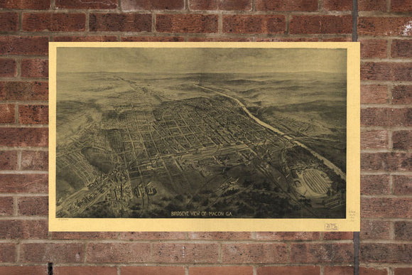Vintage Macon Print, Aerial Macon Photo, Vintage Macon GA Pic, Old Macon Photo, Macon Georgia Poster, 1912