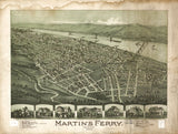 Vintage Martin's Ferry Print, Aerial Martin's Ferry Photo, Vintage Martin's Ferry OH Pic, Old Martin's Ferry Pic, Martin's Ferry Ohio Poster